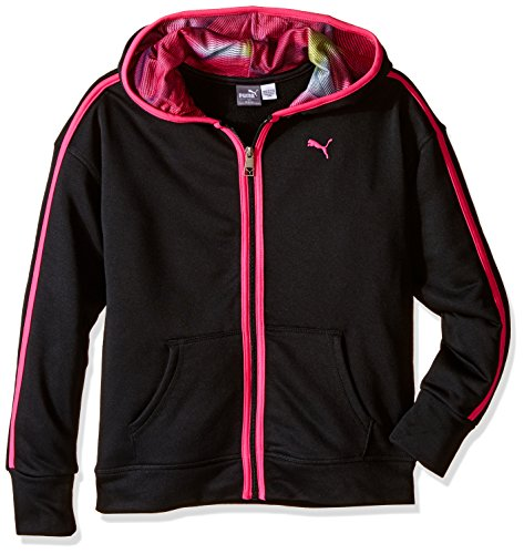 PUMA Little Girls' Hoodie With Contrast Taping, Black, 6 Puma Girls Jacket