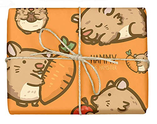 Hammy The Hamster - Design Gift Wrapping Paper | for Baby Showers, Kids Birthdays, Christmas Gifts | Unique Unisex Print | Wrap A Birthday Parcel & Present | 5 Sheets | 20 x 28 Inches