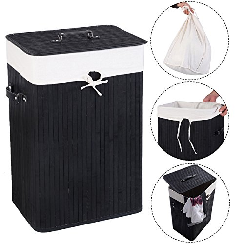 Rectangle Bamboo Hamper Laundry Basket Washing Cloth Bin Rangier Lid blCK (Zebra Print Laundry Basket)