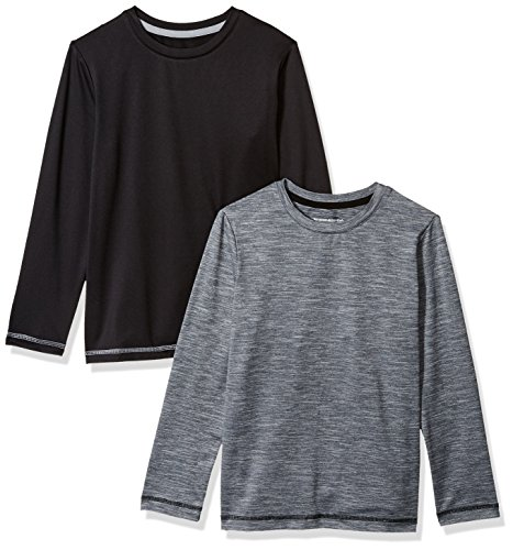 Amazon Essentials Little Boys' 2-Pack Long-Sleeve Basic Active Tee, Black/Heather Grey, Small