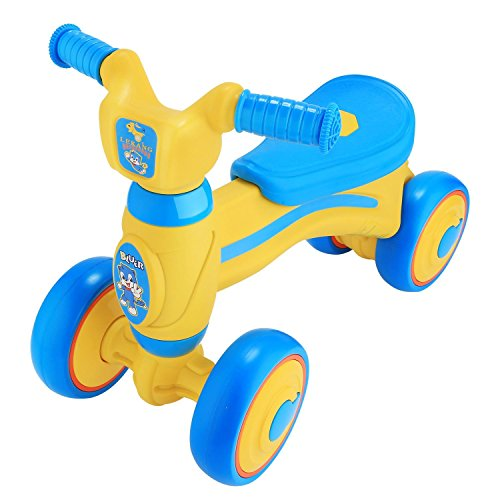 Cosway Baby Toddler Walker Balance Bike 6-36 Months No Foot Pedal with 4 Wheels (Blue Yellow)
