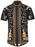 Pizoff Men's Short Sleeve Luxury Print Dress Shirt
