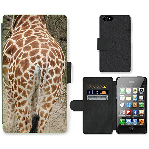 Just Phone Cases PU Leather Flip Custodia Protettiva Case Cover per // M00128578 Giraffe Afrique du Zoo Savannah // Apple iPhone 4 4S 4G