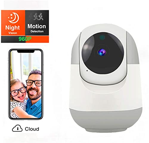 Dog Monitor Camera,Wireless Smart Security Camera, Baby Monitor with Camera and Motion Detection Night Vision Two Way Audio Cloud Storage for Home Shop Office White-960P