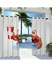 Outdoor Patio Curtains Sea Animals Theme Set of Hermit Crabs from Caribbean Seascape Anti-Uv Windproof Curtains Great Addition to Your Backyard Living Space Marigold White