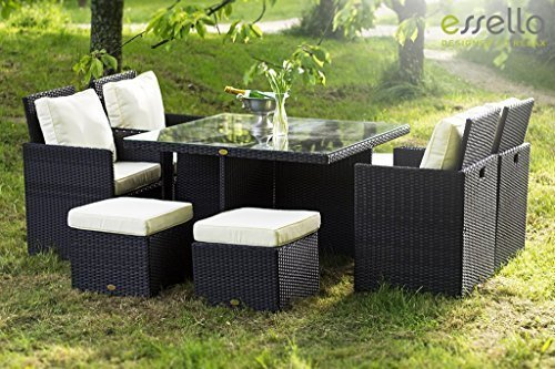 essella polyrattan essgruppe vienna 4er in schwarz g nstig. Black Bedroom Furniture Sets. Home Design Ideas