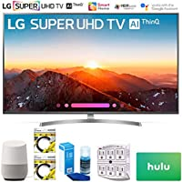 LG 65SK8000PUA 65 Class 4K HDR Smart AI Super UHD TV w/ThinQ 2018 Model (65SK8000PUA) with Google Home, 2X 6ft HDMI Cable, Screen Cleaner for LED TVs, Surge Adapter & $100 Hulu Plus Gift Card