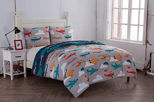 Full Comforter Set : Plane And Cloud Design , All Season Luxurious Microfiber in Multicolor ; 3 pc Set Includes Reversible Comforter , 2 Pillow Shams