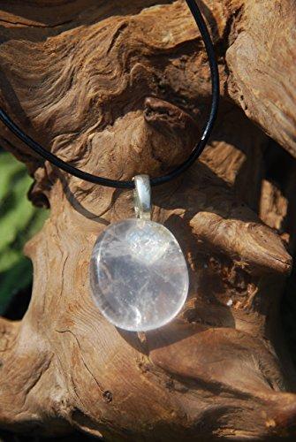 Smokey Quartz Palm Stone on a Leather Thong Necklace ()