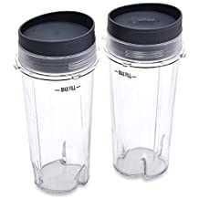Sduck Replacement Parts for Nutri Ninja Blender, Two Pack 16-Ounce (16 oz.)Single Serve Cup Fit for Ultima & Professional Nutri Ninja Series BL770 BL780 BL660 All Pro 4 Tab Blenders
