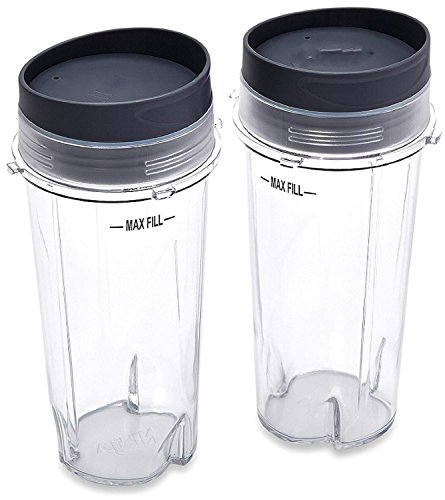 Sduck Replacement Parts for Nutri Ninja Blender, Two Pack 16-Ounce (16 oz.)Single Serve Cup Fit for Ultima & Professional Nutri Ninja Series BL770 BL780 BL660 All Pro 4 Tab Blenders (Nutri Ninja Single Cup compare prices)