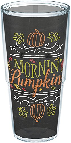 Tervis 1234923 Mornin Morning Pumpkin Chalk Art Wrap 24oz Tumbler with No Lid, 24 oz Clear ()