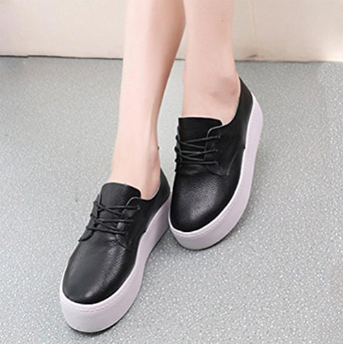 autunno primavera di sneakers black crosta e scarpe casual Ms scarpe cuoio pizzo spessa OaRwwBq