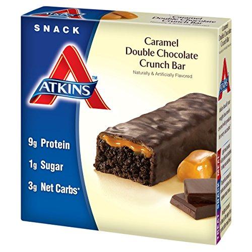 Atkins Snack Bar, Caramel Double Chocolate Crunch, 5 Bars
