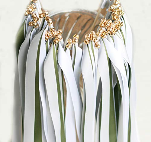 Wands Pictures Magic - Cheonus 50PCS Wedding Wands with Triple Ribbon and Gold Bell Party Wand Streamers Ribbon Sticks Magic Fairy Wands Wedding Decors Bridal Shower Photo Prop Moss 007029