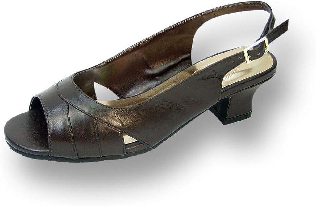 Peerage Karen Women Wide Width Leather Heeled Slingback Comfort Sandals
