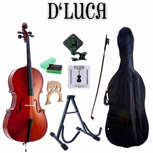 D'Luca MC100-1/8 Meister Student Cello 1/8 Package with Free Stand, Bag, Strings, Chromatic Tuner, Rosin and Bow by D'Luca