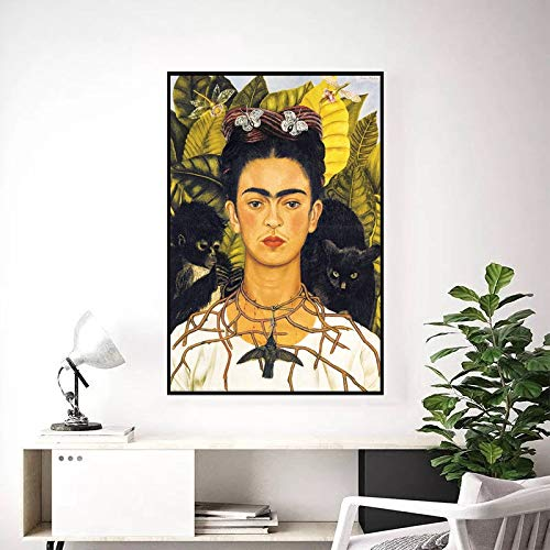 astoriagears Frida Kahlo self Portrait with Thorn Necklace Poster,Mexican Painter, Surrealist Female Painter,Art Print,Art Canvas Print,Art Gift Frame