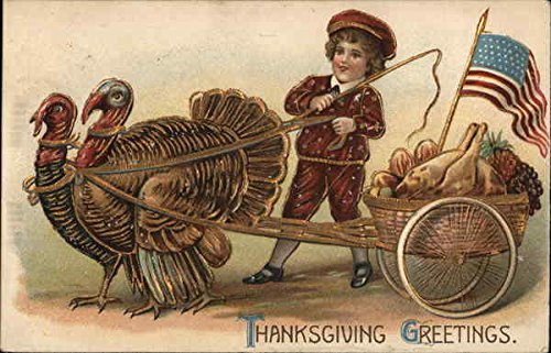 Thanksgiving Greetings Turkeys Original Vintage (Thanksgiving Greetings Postcard)