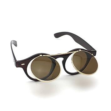Retro Stil Unisex Hochklappen Rund Sonnenbrille Steampunk