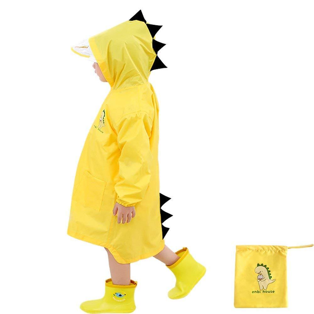 Leey Ragazzi Giacche Impermeabili Custodia 3D Dinosauro Impermeabile Poncho Bambino con Nastro Impermeabile