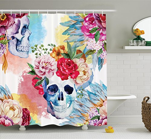 - Ambesonne Skulls Decorations Collection, Colorful Pattern with Skull Headdress Ornament Portrait Wild Watercolor Effect, Polyester Fabric Bathroom Shower Curtain, 84 Inches Extra Long, Blue Red Green