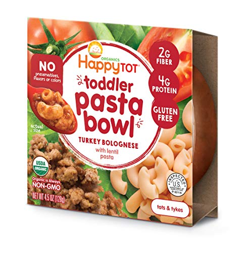 Happy Tot Toddler Pasta Bowl Turkey Bolognese with Lentil Pasta, 4.5 Ounce, 8 Count ()