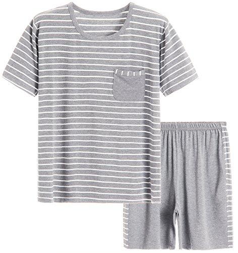 Latuza Men's Summer Sleepwear Striped Design Casual Pajama Set L White ()