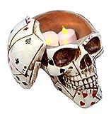 Ky & Co YesKela Poker Skull Stash Box or Container Playing Cards Keepsake 6.5'' Long Figurine