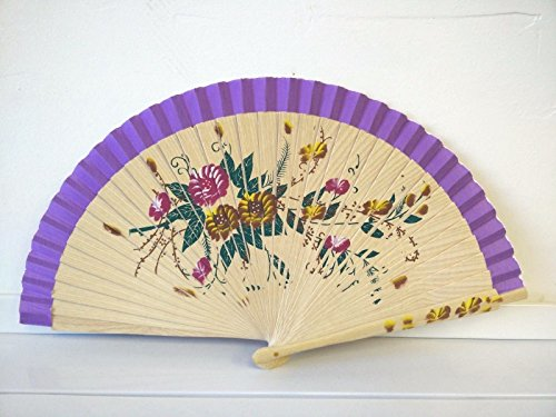 Hand Painted Paper Shade (Maple Wood Wood Spanish Flamenco Vintage Wooden Folding Hand Fan Hand Painted)