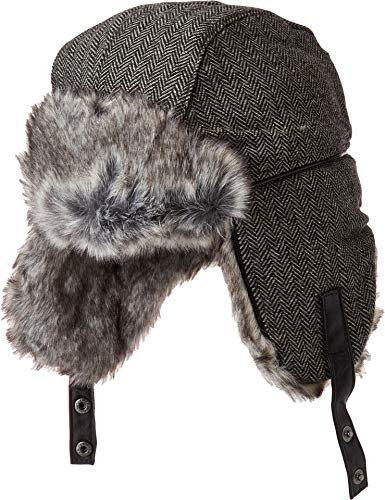 Obermeyer Men's Trapper Knit Hat w/Faux Fur Herringbone One Size
