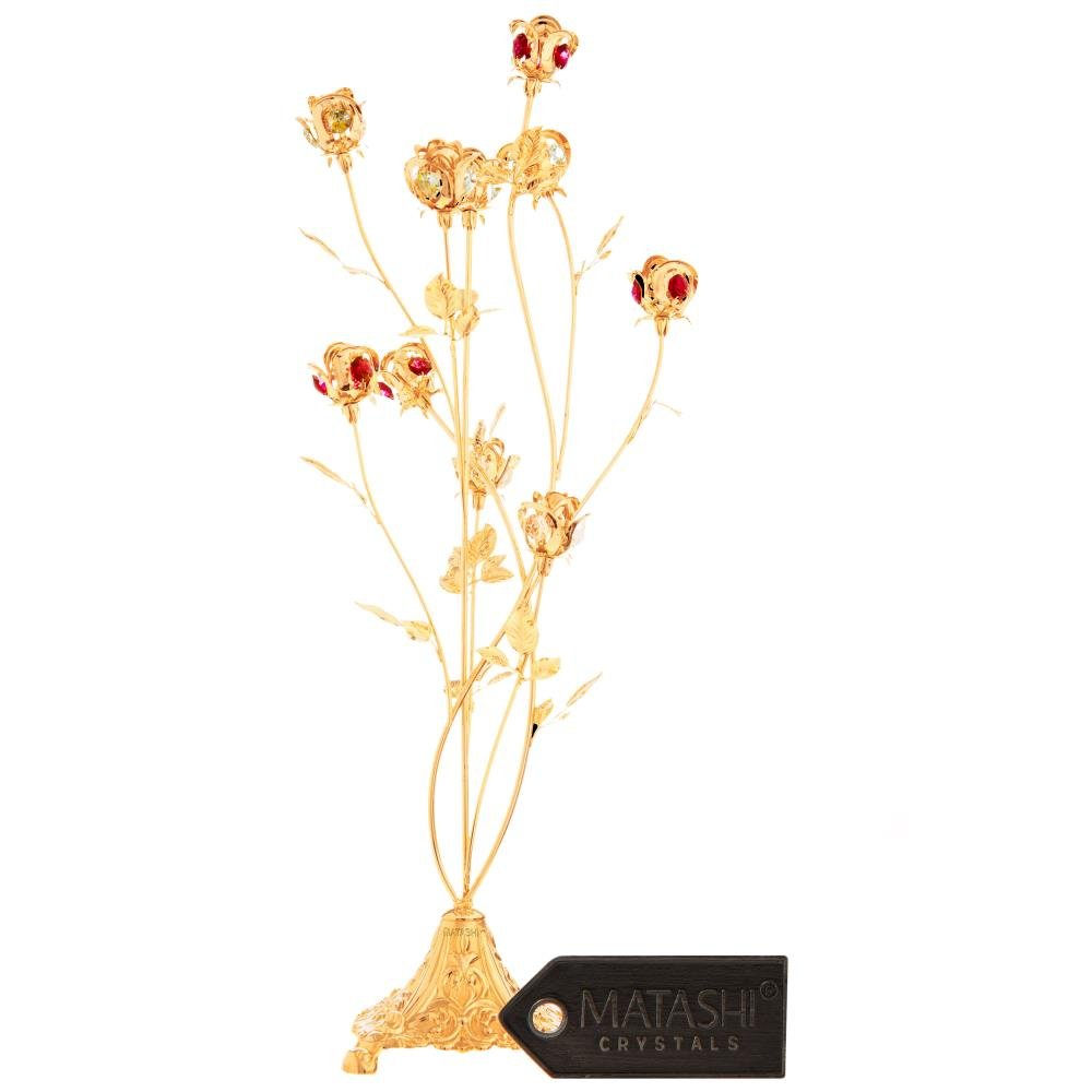 Mothers Day Gift – 24K Gold Plated Crystal Studded 10 Piece Rose Bouquet Flower Ornament Crafted with Stunning Ruby red Crystals - Great Gift for Mother's by Matahsi by Matashi (Image #1)