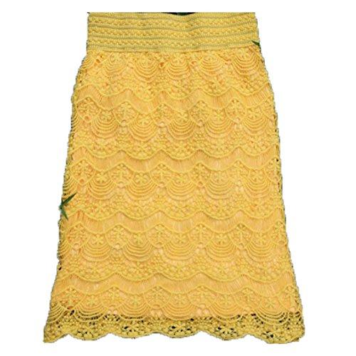 AUUOCC skirts 5XL XXL Women Lace High Waist Skirts Praia Bottoms Grunge Skort Yellow XXXL by AUUOCC skirts