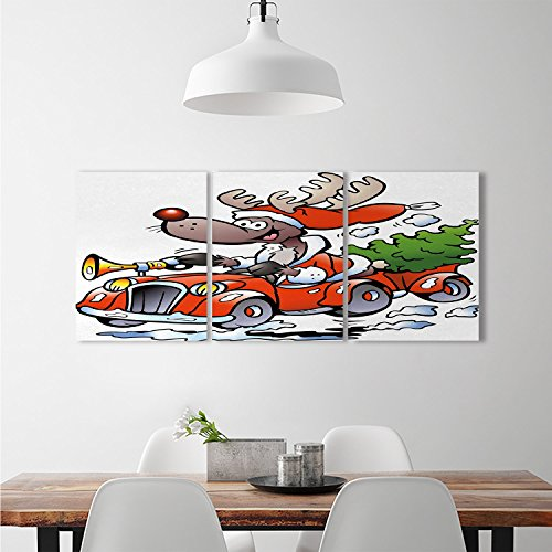 djidliyz8 Christmas wall Stickers Reindeer Racing in Red Vintage Car with Xmas Tree Horn Santa Hat Winterdecorate stickers for wall White Red Green Racing Reindeer