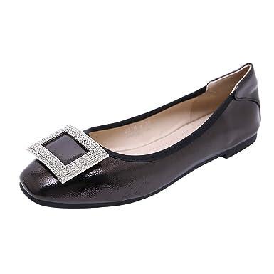 Cywulin Womens Rhinestone Wedding Bridal Round Toe Slip On Ballet Flat Shoes Fashion Casual Pumps Foldable