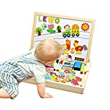 Lewo Wooden Educational Toys Magnetic Letters Numbers Puzzles Games Large Drawing Board for Kids