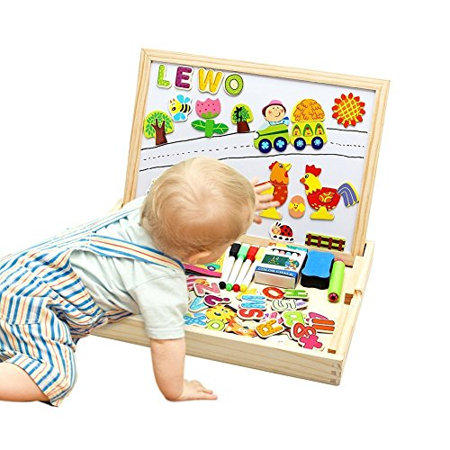 Lewo Wooden Large Educational Toys Magnetic Letters Numbers Animals Learning Puzzle Games Drawing Board with Writing Drawing Doodle Side Dry Erase Board for Kids ()