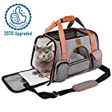 FRUITEAM Airline Approved Pet Carrier Travel Bag, Soft Sided Pet Handbag Portable Cozy Travel Bag for Medium/Small Cats/Dogs/Rabbits, Car Seat Safe Carrier Tote Bag, Safety Buckle Zippers