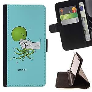 BullDog Case - FOR/Samsung Galaxy S5 Mini, SM-G800 / - / Funny Got Ink Squid Octopus /- Monedero de cuero de la PU Llevar cubierta de la caja con el ID Credit Card Slots Flip funda de cuer