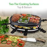 NutriChef Electric Two-Tier Raclette Grill - Removable Cooking Stone & Non-stick Grilling Surface, 8 Cheese Serving Paddle, Cooktop Stones, 900 Watt - Great for Family Get Together or Party (PKGRST32)