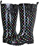 Capelli New York Ladies Shiny With Dots Tall Rubber Rain Boot Multi Rainbow Combo 8