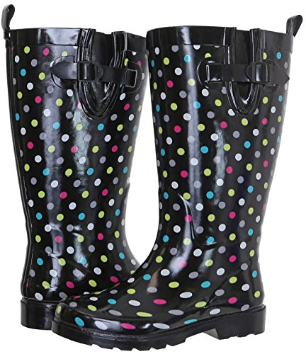 Capelli New York Ladies Shiny with Dots Tall Rubber Rain Boot Multi Rainbow Combo 7