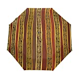 WIHVE Africa Art Culture Paisley Umbrella Auto Open Close Windproof Compact