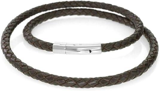 Dunkelbraun-biologisch eingefaerbt Lederschmuck Lederhalsband Lederkette geflochten LBB 100 verschiedene Laengen bis 80 cm lang 3 mm Durchmesser mit Karabinerverschluss ca