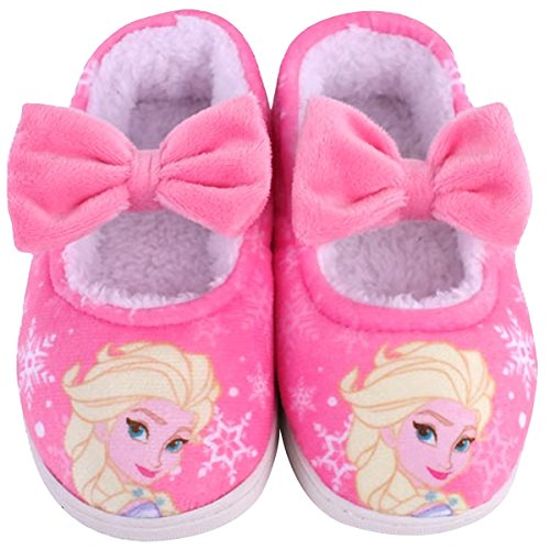 Joah Store Slippers for Girls Disney Frozen Elsa Girls Warm Fur Comfort Indoor Shoes (13 M US Little Kid, Frozen Elsa_E)