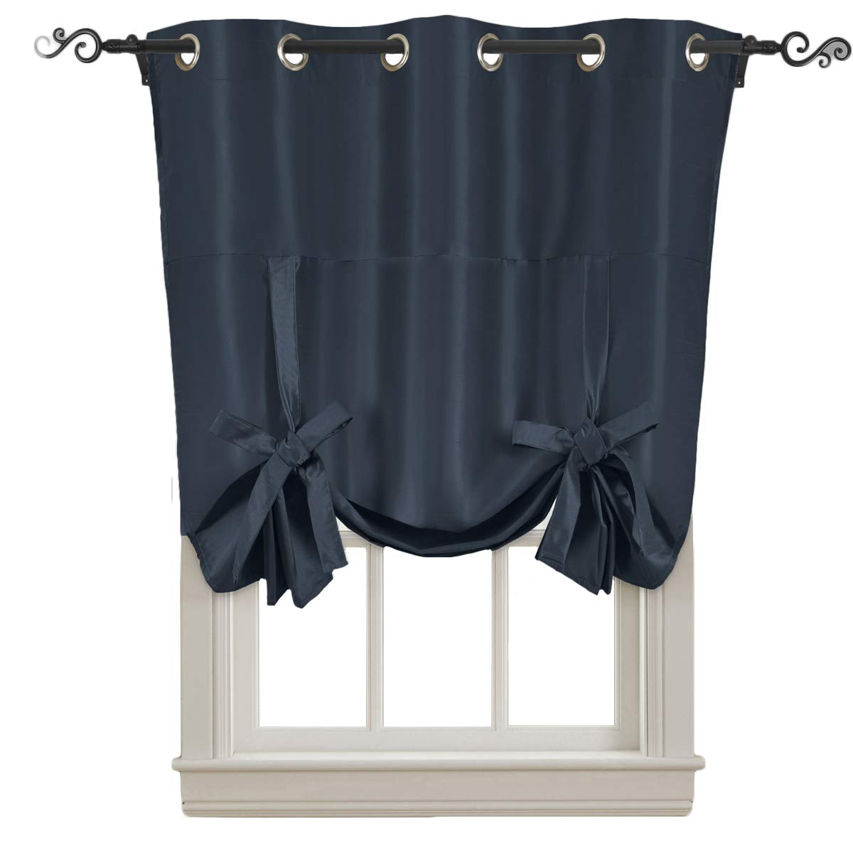 Royal Hotel Soho Navy Tie Up Shade, Blackout Window Curtain Panel, Top Grommet, Solid Pattern, 42x63 inches