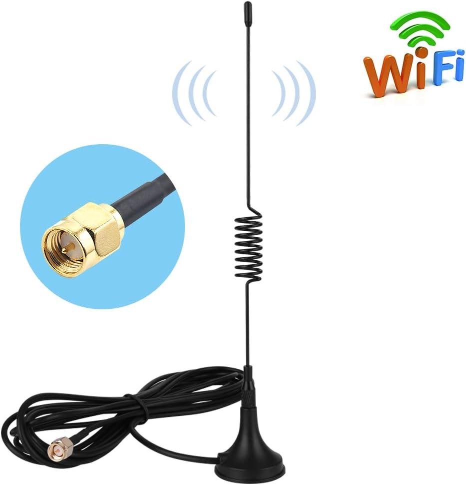 SMA Base Magnética Antenna 10dBi Alta Ganancia 4G LTE, Amplificador de Antena gsm WiFi Receptor de Adaptador de Red Antena SMA de Largo Alcance con Cable a Conector SMA para Punto de Acceso móvil