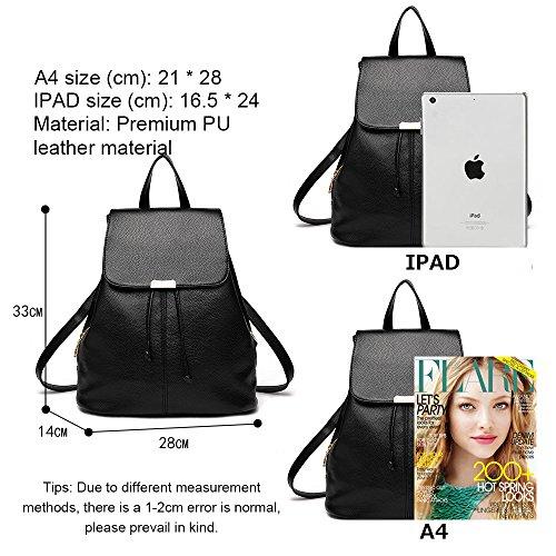 (JVP1042-P) Las mujeres mochila de cuero de LA PU bolsa de gran capacidad de viaje de regreso las mujeres 3way espalda hombro bolso de mano simple de moda popular luz de la escuela suburbana Rosa Roja