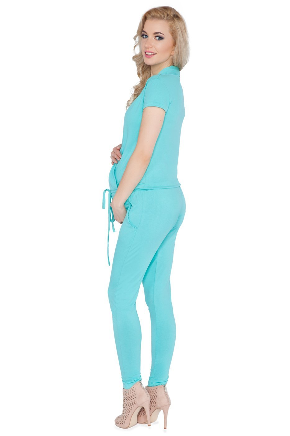 hi!mom Womens Maternity Jumpsuit with Pockets Pregnancy V Neck Wrap Playsuit Sizes 8-18 1080 O-1080C