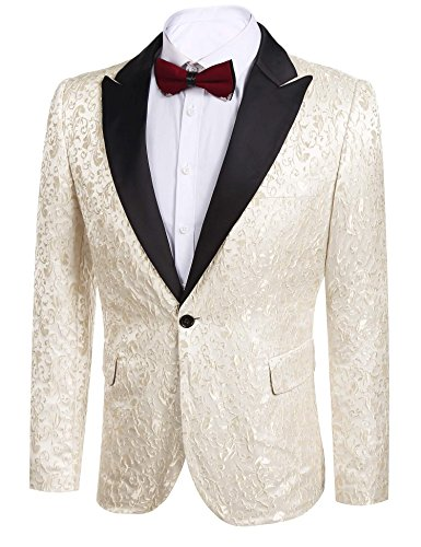 Donet Men's Floral Party Dress Suit Notched Lapel Stylish Dinner Jacket Wedding Blazer Prom Tuxedo Beige X-Large by Donet